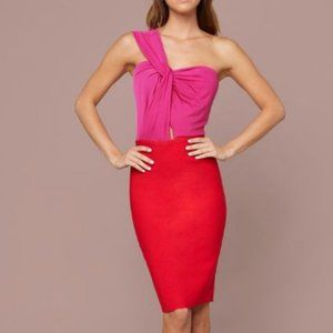 BEBE Dress Women Red Martina Twist Dress Size S